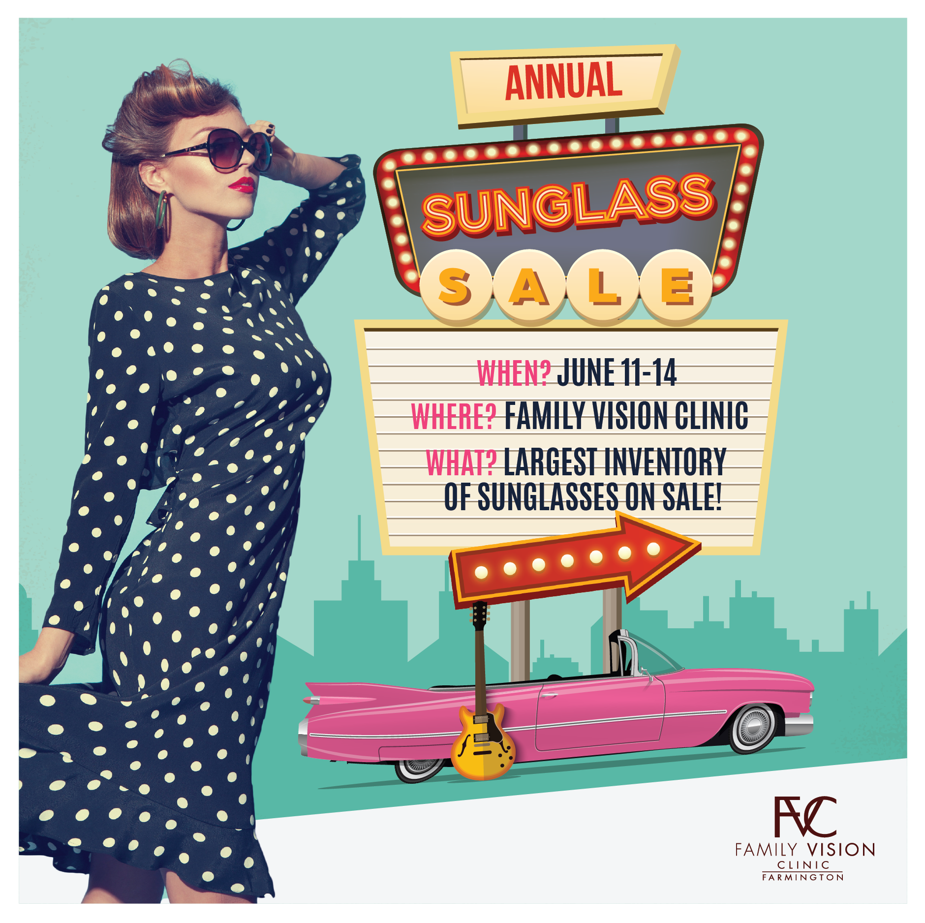 Now that the sun has decided to show its face and summer has arrived...Come join FVC for our ANNUAL 50% OFF SUNGLASSES SALE!!!!  When: June 11-14  We will be hosting an Ice Cream Social, with ice cream from Chill of Farmington, to kick off the event on Tuesday 6/11 from 9am-7pm. Browse our expanded selection of designer frames while enjoying an ice cream treat!